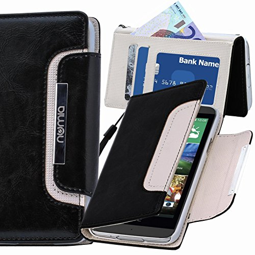 HTC Desire 728G Hülle, numia Handyhülle Handy Schutzhülle [Book-Style Handytasche mit Standfunktion und Kartenfach] Pu Leder Tasche für HTC Desire 728G Case Cover [Schwarz-Weiss]
