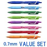 Uni-Ball Jetstream Extra Fine Point stylos à bille rétractable, rubber Grip type -0.7 mm-8 Couleur Ink-8 stylos Value Lot (Bleu, Ligit, Bleu, Vert, Vert citron, orange, rose, rouge, Violet)