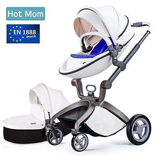 Hot Mom Cochecito de Bebe 2017 Multifuncional Sistemas de viaje, buenos amortiguadores, asiento regulable en altura, reversible, color blanco, Asiento para bebé vendido por separado