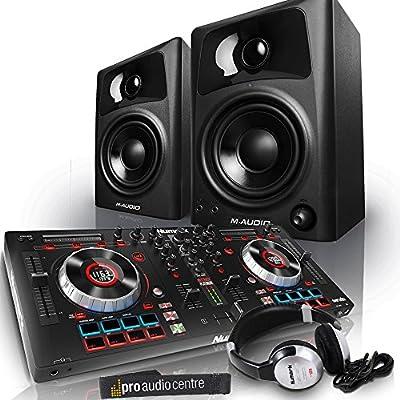 Numark Mixtrack Platinum USB DJ Controller with M-Audio AV32 Active Studio Monitors and Pro Headphones