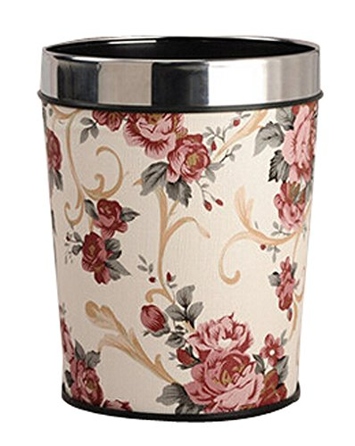 Fashion Square Sans couverture toilettes Trash Can Poubelle Pivoine