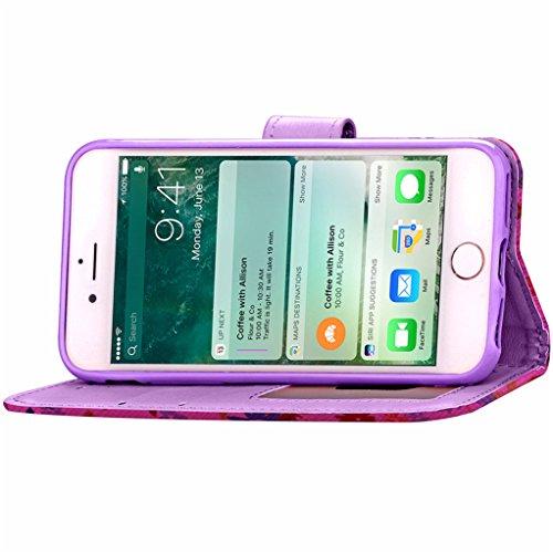 """Trumpshop Smartphone Case Coque Housse Etui de Protection pour Apple iPhone 7 Plus 5.5"""" (Série Fleurs) + Blanc + Ultra Mince Smarphonetcoque Portefeuille PU Cuir Avec Fonction Support Anti-Choc Anti-R Violet"""