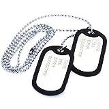 TOOGOO(R) Collier Chaine Pendentif 2 Plaque Identite Dog Tag Alliage Mode Militaire...
