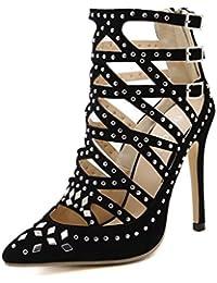 LINYI Zapatos Puntiagudos Remaches De La Nueva Moda De Las Mujeres con Hebilla De Tacón De Aguja Multi Sandalias...