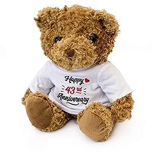 London Teddy Bears Oso de Peluche con Texto en inglés Happy 43rd Aniversary, Regalo de 43 años