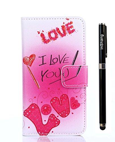 inShang Custodia per Sony Xperia Z4, Custodie Case Cover in SUPER PU - pelle Custodia a portafoglio con taschini per carte di credito, può essere un forte support per Sony Xperia Z4 + inShang Logo pennino di alta classe