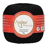 Anchor Freccia - Gomitolo di filo da uncinetto, 100% cotone, Cotone, 00403, Nero