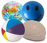Stressballs 4 x Gemischte Antistressball (Blaue Smiley, Atlas, Gehirn & Wasserball) - Smiley Stress Ball, Stressballs