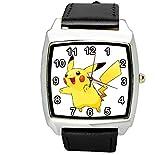 taport Pikachu Pokemon quadratisch Quarzuhr schwarz Leder Band + Gratis Ersatz Akku + Geschenk Tasche