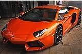 Zopix Poster Lamborghini Aventador Auto Orange Wandbild - Premium (45x30 cm, versch. Größen) - 190g Premium-Papierdruck - Inklusive Poster-Stripes