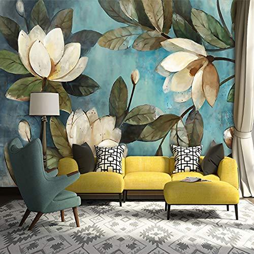 Xzcwwh personalizzato telo da parete 3d bianco lotus retro pittura a olio foto murale carta da parati soggiorno camera da letto ristorante rivestimento murale decorazione 3d,250cm(w)×175cm(h)