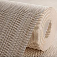 AdorabPaper Contact Paper Wallpaper Non-Woven Fabric Modern Minimalist Solid Color Vertical Stripes Hotel Bedroom Living Room Wall Yellow 53X950CM