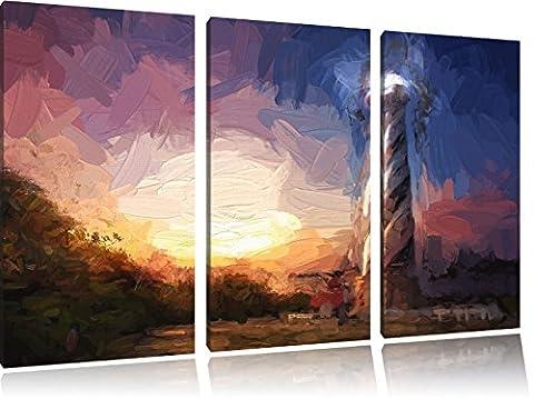 Cape Hatteras Leuchttum Kunst Pinsel Effekt 3-Teiler Leinwandbild 120x80 Bild auf Leinwand, XXL riesige Bilder fertig gerahmt mit Keilrahmen, Kunstdruck auf Wandbild mit Rahmen, gänstiger als Gemälde oder Ölbild, kein Poster oder Plakat