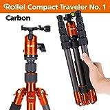 Rollei Compact Traveler No. 1 Carbon - sehr leichtes Reisestativ aus Carbon mit einem Packmaß von nur 33 cm, Arca Swiss kompatibel, inkl. Monopod-Funktion und Kugelkopf mit Panoramafunktion - Orange