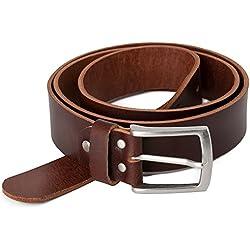 marrón Vintage Cinturón de piel de búfalo cuero 40 mm de ancho y aprox 3-4 mm de grueso, puede acortarse, cinturón, cinturón de piel, cinturón de traje, #Br007-02 (waist size 100 cm)