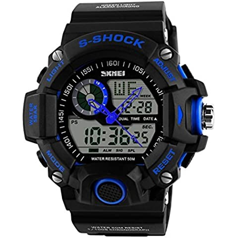 downj Multi Function militari S-Shock orologio sportivo LED digitale e analogico 5ATM Impermeabile Allarme (Blu & # 65289;