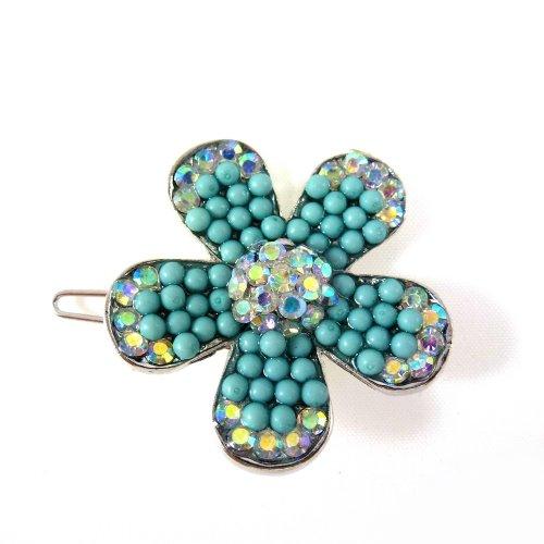rougecaramel - Accessoires cheveux - Pince cheveux fleur perles et strass - bleu