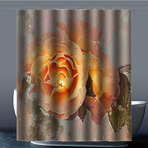 Coutume Peach Blossom Fleur de Pêche 100% polyester usine Rideau de douche Shower Curtain, Polyester, C, 60x72(inches)