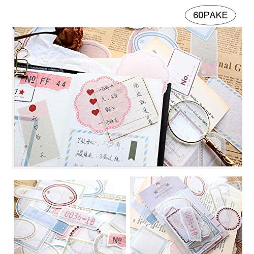 FOONEE Ephemera für Scrapbooking, 60 Stück Vintage-Ephemera-Pack, Ephemera-Kartenvorrat für Notizbuch, Tagebuch, Kartenherstellung, Briefe #10 -
