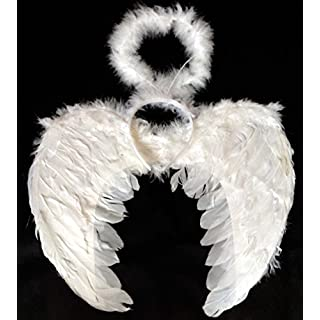 Allsorts® White Feather Angel Wings and Halo Fancy Dress Costume Set