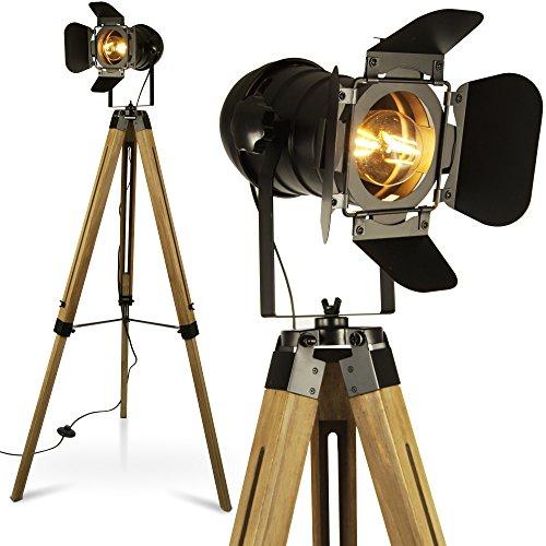 MOJO Tripod Stehleuchte Tischleuchte Höhenverstellbar Stehlampe Tischlampe Retro Industrial Design ml88 (Ohne Leuchtmittel)