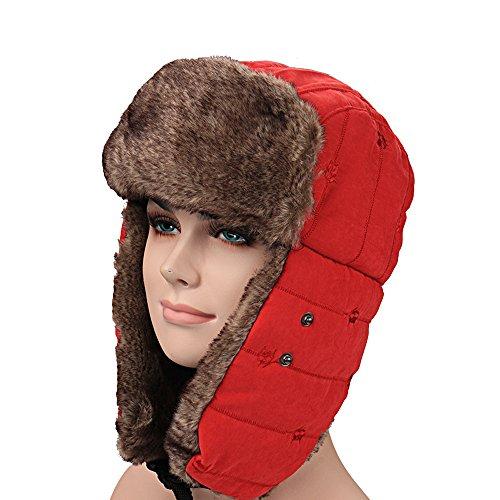 Bomber Hats for Women Men Russian Style Winter Ear Flap Hat by Fan7laidi