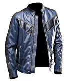 Stylish-Leather-Jackets Herren Jacke Gr. Large, Navy Blue Cafe Racer