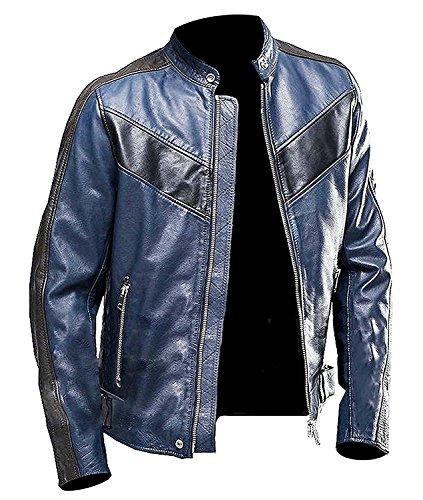 b75237ae8 Stylish-Leather-Jackets - Giacca - Uomo Navy Blue Cafe Racer XXX-Large