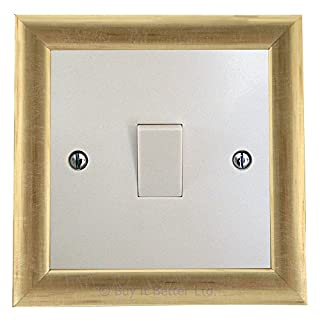 Switch Surround Frame Cover Finger Plate Contemporary Old Gold Brass Effect
