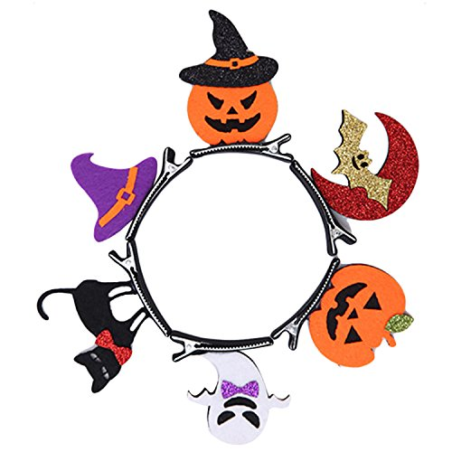 Gosear 6 Stk Kinder Erwachsene Halloween Dekoration Haar Kopf Clips Kit Bat Kürbis Ghost Cat Hat Haar Pins Halloween Dekoration Kostüm (Tolle Clips Kostüm)