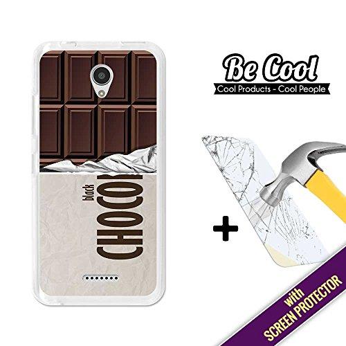 BeCool®–Handy Schutzhülle [Flexible Gel] für Lenovo A Plus [+ 1Displayschutzfolie Glas] Ultra Dünn Silikon, schützt und sich perfekt an Ihrem Smartphone. Tafel-Schokolade Schwarz.