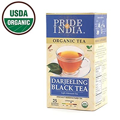 Pride Of India thé noir organique darjeeling, 25 comptage (6pack)