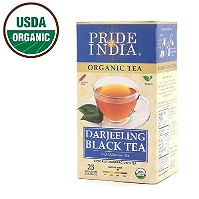 Pride Of India thé noir organique darjeeling, 25 comptage (6pack)