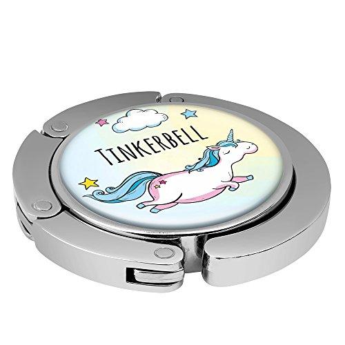 Taschenhalter Dickes Fliegendes Einhorn Personalisiert mit Namen Tinkerbell printplanet Chrom