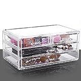 afoor transparente acrílico joyas caja multi-drawer se puede apilar con caja de almacenamiento de cosméticos caja de tocador acabado de escritorio