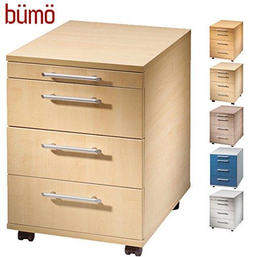 Bümö® Rollcontainer mit 3 Schüben | Bürocontainer aus Holz | Tischcontainer mit Rollen | FSC