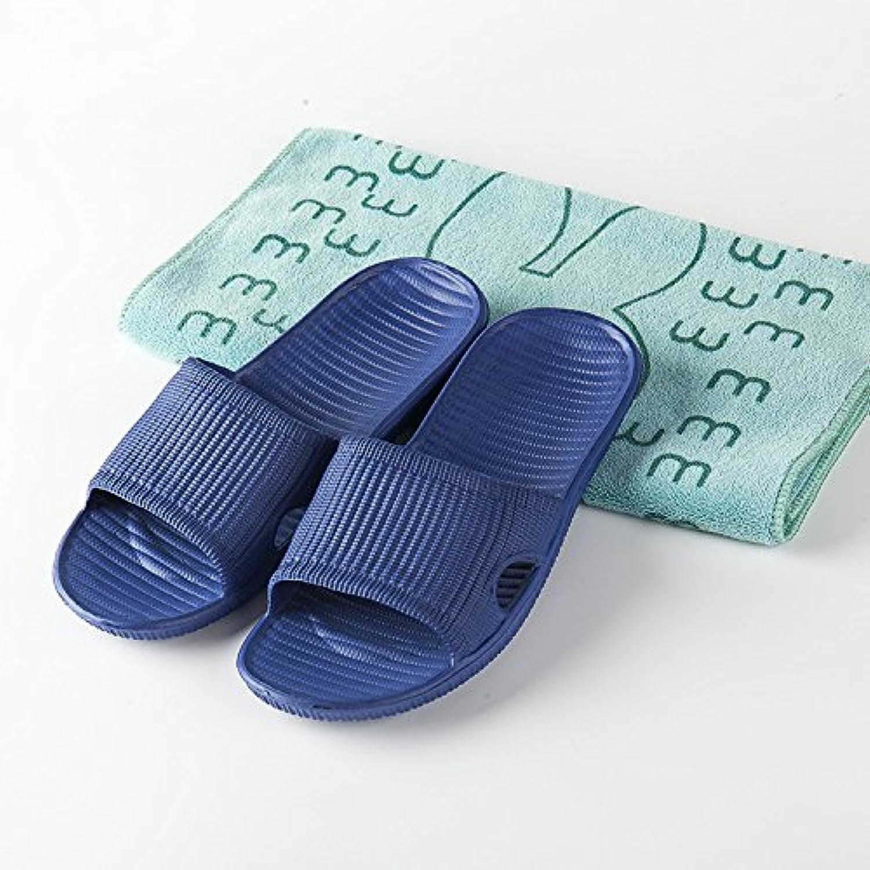Pareja casa zapatillas verano EVA antideslizante baño fondo suave cómodo zapatillas de rayas, azul oscuro, 36  -