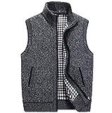 Herren Pullover Weste Sleeveless Cardigan Stehkragen Jacke M-4XL (Farbe : Dunkelgrau, größe : XXXXL)