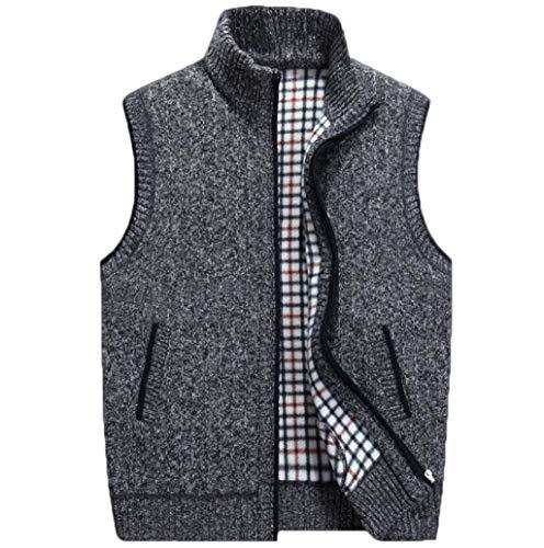 Herren Pullover Weste Sleeveless Cardigan Stehkragen Jacke M-4XL (Farbe : Dunkelgrau, größe : XXXL)