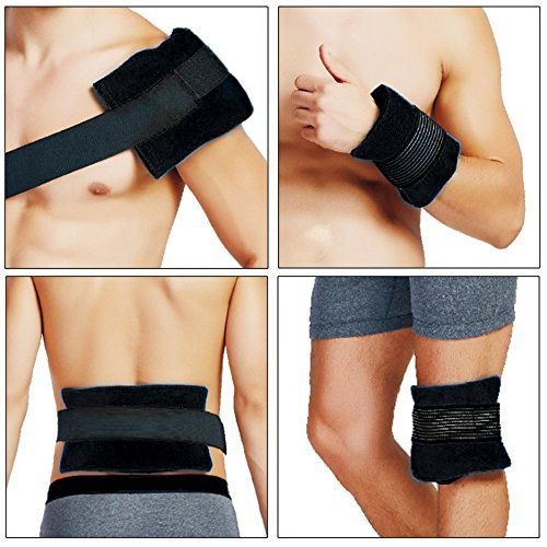 Arsa Medicare (Pack of ONE) Black in Color Large Reusable Hot/Cold Gel Pack (14x27cm) - Compression Cover and Strap (Best Ice Pack for Wrist and Ankle Sprain, Flexible Hot and Cold Compress for Pain Relief, Sports Injuries, and Swelling)  available at amazon for Rs.399