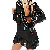 MCYs Damen Bikini Feder Vertuschen Reine Hand Chiffon Crochet Knit Hollow-Out Strandkleid Backless Strand V- Ausschnitt Badeanzug Bikini-Kittel Cover Up mit Quaste One Size (Schwarz)