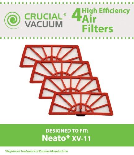 Neato XV 4-11 Air Filter für Neato XV11 XV - 11 alle Floor Leselampe, Staubsauger System; im Vergleich zu Neato Filter Part #945-0004 (9450004), Design &entworfen von Crucial Vacuum