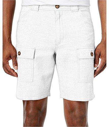 Tasso Elba Men's Linen-Blend Cargo Shorts White Combo Size 33 (Cargo Linen-blend Shorts)