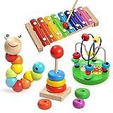 Aideal Xylophon Musikinstrumente Spielzeug Kinder - Pädagogische Schlagwerk-Instrument mit Helle Farben und Kinder-sichere hölzerne Schlägel