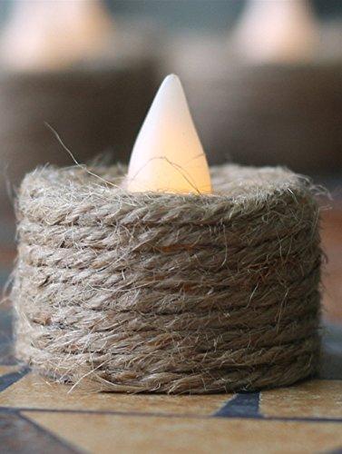 CandleLife Cuerda de c¨¢?amo accionada por bater¨ªa Velas sin te?ir de LED, paquete de 12