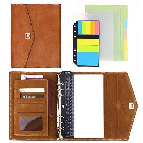 TaNuKi Ko A5 PU Leder Personal Organizer Planer Notizbuch Set mit 12 Zubehör(A5 Gelblich Braun)