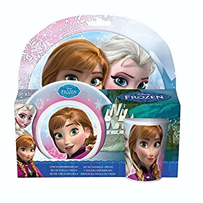 Disney Frozen - Vajilla Infantil Melamina Anna & Elsa (Plato, Bol, Taza) de JoyToy
