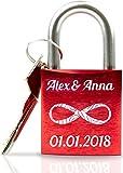 Geschenkfreude personalisiertes Liebesschloss mit Gravur und Schlüssel wahlweise mit Geschenkverpackung