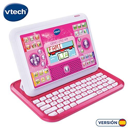 VTech - Genio Little App, Ordenador tablet educativo para jugar y aprender de dos maneras distintas, 80 actividades que enseñan letras, rimas, inglés, matemáticas, ciencias, lógica, color rosa