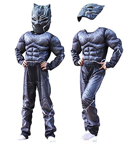 VersusModa Simile Black Travestimento Panther Costume Carnevale Bambino Uomo Pantera Nera Cosplay Costume BLACKP01 (M - Bambino)
